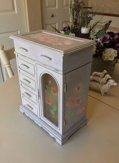Vintage Jewelry Box / Painted OOAK Jewelry Boxes / Upcycled Jewelry Armoire / Wooden Jewelry Storage by ByeByBirdieDesigns on Etsy https://www.etsy.com/listing/490632042/vintage-jewelry-box-painted-ooak-jewelry