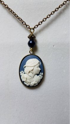 Excited to share the latest addition to my #etsy shop: Young woman Cameo Necklace http://etsy.me/2CCpRGt #jewelry #necklace #blue #no #hook #brass #women #yes #gold