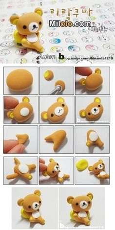 DIY fimo polymer clay teddy bear Rilakkuma - or for fondant Diy Fimo, Crea Fimo, Cute Polymer Clay, Polymer Clay Animals, Cute Clay, Fimo Clay, Polymer Clay Projects, Polymer Clay Charms, Polymer Clay Creations