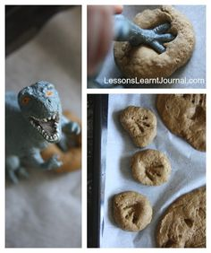 "How to make dinosaur fossils: Dough recipe & how to imprint the ""fossils"". Would be a great activity at a kid's birthday party. Make the dough ahead of time then let the kids make fossils to take home. Making Peanut Butter, Peanut Butter Cookies, Sugar Cookies, Dinosaur Birthday Party, 2nd Birthday, Birthday Ideas, Dinosaur Fossils, Dinosaur Tracks, Dinosaur Cookies"