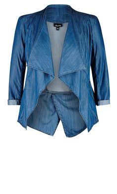 City Chic - DRAPEY DENIM JACKET - Women's Plus Size Fashion Plus Fashion, Diva Fashion, Curvy Fashion, Plus Size Outerwear, Blue Jean Jacket, Oversized Denim Jacket, Denim Jackets, City Chic, Plus Size Outfits
