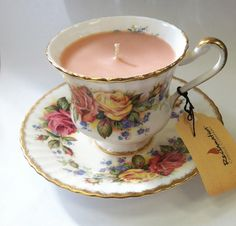 Delicious spiced pear antique teacup candle from Reclamation Candle Company on Etsy or reclamationcandlecompany.com