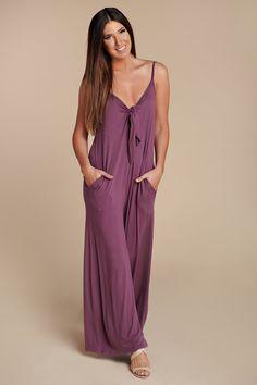 8b2e51e2da2 The Good Things Tie Front Jumpsuit (Purple)