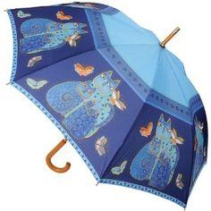 Laurel Burch Stick Umbrella 42 Canopy Auto Open-Indigo Cats,$20.49