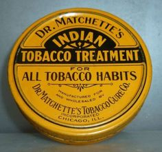 "RARE Dr Matchett""s Indian Tobacco Treatment Tin Full Contents Cure 1900 1915 | eBay"