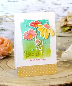 Anniversary Set Mixed Bouquet Card by Melissa Phillips for Papertrey Ink (February 2018)