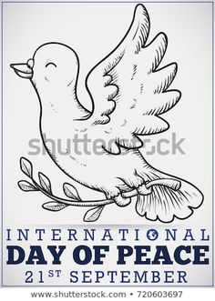 Poster with smiling hand drawn peace dove holding a olive branch to celebrate International Day of Peace. International Day Of Peace, Peace Dove, Anonymous, Art Sketches, Hand Drawn, How To Draw Hands, Royalty Free Stock Photos, Pencil, Crafting