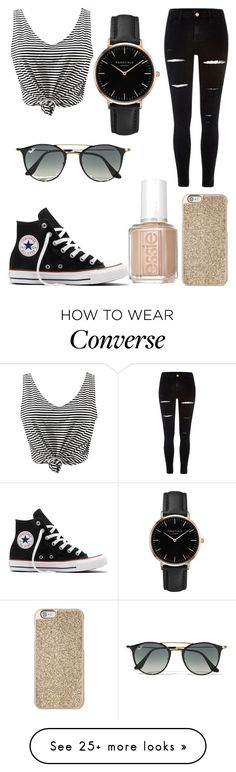 """Skater girl"" by nerdypanda777 on Polyvore featuring River Island, WithChic, Converse, Topshop, Ray-Ban, Essie and Michael Kors"