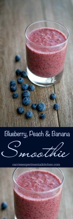 This Blueberry, Peach & Banana Smoothie is filling with the addition of flax and tastes great for breakfast or an afternoon snack.#smoothie #peach #banana #blueberry How To Make Smoothies, Yummy Smoothies, Breakfast Smoothies, Smoothie Recipes, Banana Breakfast, Vitamix Recipes, Morning Breakfast, Juice Recipes, Best Breakfast Recipes