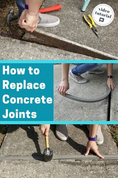 repair concrete sidewalk Video tutorial- see how to fix wood gaskets in concrete with flexible vinyl from slab gasket. Repair Concrete Driveway, Concrete Driveways, Concrete Patio, Repair Cracked Concrete, Concrete Refinishing, Concrete Repair Products, Expansion Joint, Home Fix, Diy Home Repair