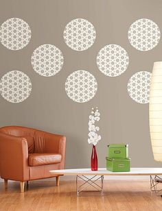 DIY living room wall decor idea with polka dots
