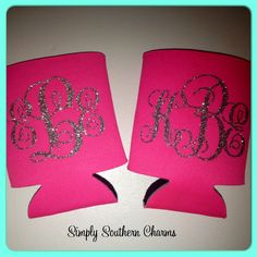 Personalized Koozie Wedding Gift by SimplySouthernCharms on Etsy Brides And Bridesmaids, Bridesmaid Gifts, Monogram Gifts, Personalized Gifts, Handmade Wedding Gifts, Wedding Koozies, Our Wedding, Wedding Bells, Silhouette Projects