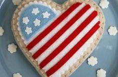 Adorable Felted American Flag Patriotic Cookies