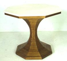 Hourglass1940's Parisian Style Octagonal Table withPedestal Base ofReeded Form in Gold Patina Creamy Travertine Marble Top Local Indonesian Marble, Tulung Agong, Naturally Varies in Veining Base Also Available in Silver Gilt Base is 23
