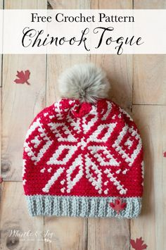 FREE Crochet Pattern Chinook Canada Toque For all the Canadian Olympics Fans Inspired by Official Team Canada hats a soft and cozy slouchy hat. The color work is easier than it looks so give it a try Crochet Beanie Pattern, Knit Or Crochet, Crochet Gifts, Crochet Scarves, Easy Crochet, Free Crochet, Crochet Patterns, Hat Patterns, Crochet Clothes