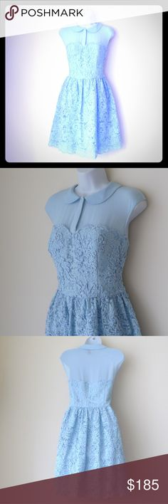 Ted Baker Baby Blue Lace Dress ultra girlie Ted Baker Sz 3 Baby Blue dress [BUT refer to FLAT side to side measurements and compare to similar items!!] shoulder to shoulder FLAT: 17.5 inches; underarm to underarm FLAT: 19 inches; shoulder to underarm FLAT: 7.5  in; waistline FLAT: 16 in; illusion top button to waist FLAT: 14.75  in; waist to lower hem: 21 in; Peter Pan collar; left side 14 in nylon zipper; 2 hidden buttons front closure; padded and lined bodice; lined skirt; scallop edge…