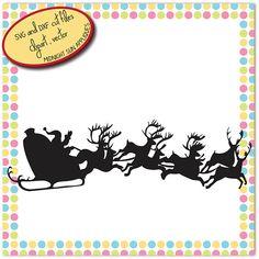 Santa Claus sleigh SVGsanta sleight silhouette svgchristmas