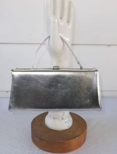 50s 60s Vintage Silver Lame' Evening Box Purse by MyVintageHatShop
