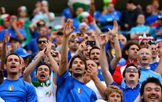 Italian fans soak up the atmopshere ahead of the UEFA EURO 2012 group C match between Spain and Italy