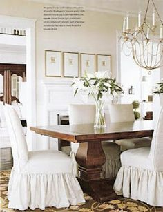 Skirted chairs and chandelier - clam colors - love it!
