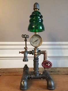 Steampunk Vintage Lamp,  Industrial Table Art,   Brass, Pressure, Antique Gauge