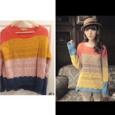 Colorful patter wool sweater. Host pick  Super chic and comfy. Very soft Sweaters Crew & Scoop Necks