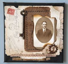 Grace's Choice ~ Great layering of ephemera, book pages and lace on this heritage page.
