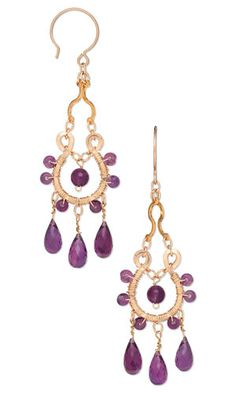 Iris Melody earrings by our own Clyde are made with 14Kt gold-filled findings and amethyst gemstone beads.  Jewelry Design - Earrings with Amethyst Gemstone Drops and 12Kt Gold-Filled Wire - Fire Mountain Gems and Beads