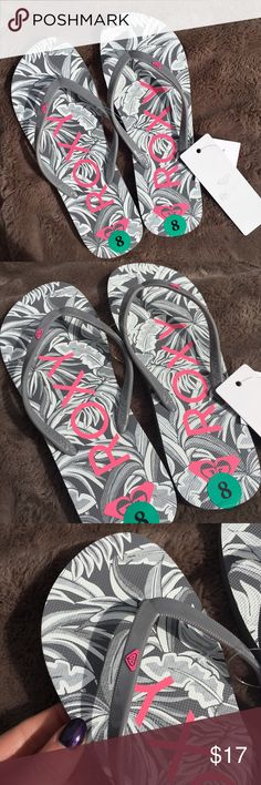 ROXY brand new flip flops gray beach summer pool 8 Brand new ROXY flip flops, size 8/Euro 38. Never worn, still with tags! Color is silver/gray and the tag is pink! Just buy too much stuff and never wear it... decided to get rid of valuable things from my closet 😊.  I'm willing to answer any questions! 😊 Roxy Shoes Sandals