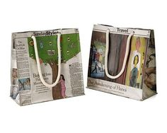 Bag created from newspaper or magazine - strong enough to hold 3 bottles of wine
