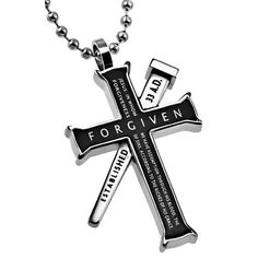 EPHESIANS 1:7 Black Cross and Nail Necklace with Bible Verse, Stainless Steel