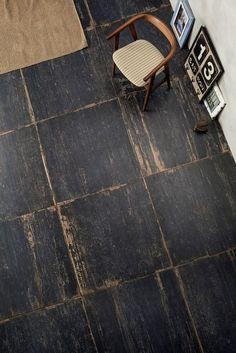 Rustic square plywood floor