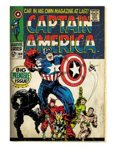 Marvel Comics Retro: Captain America Comic Book Cover #100, with Black Panther, Thor, Namor (aged) Art Print