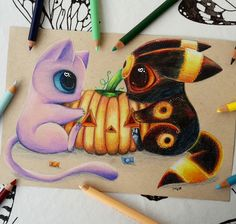 mew and Umbreon by SkyKristal on DeviantArt