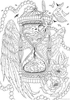 Fantasy Printable Adult Coloring Pages from Favoreads Witch Coloring Pages, Detailed Coloring Pages, Love Coloring Pages, Printable Adult Coloring Pages, Disney Coloring Pages, Animal Coloring Pages, Coloring Books, Coloring Sheets, Kids Coloring