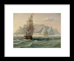 Cape Of Good Hope Framed Print featuring the painting Table Mountain, Cape Town, From The Sea by English School Table Mountain Cape Town, Hanging Wire, Framed Prints, English, Sea, School, Painting, Painting Art, The Ocean