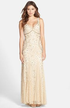 Womens Sue Wong Beaded Mesh Gown Size 14 - Beige $498.00 AT vintagedancer.com