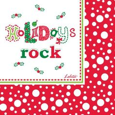 C.R. Gibson Lolita Decorated 3-Ply Paper Napkins, 5-Inch, 20-Pack, Holidays Rock by C.R. Gibson. $5.00. Lolita designs bring more fun to any occasion, from new years toasts to summer barbeques to holiday dinners. Look for coordinating dinner and luncheon napkins and plates. 3-Ply paper is strong and soft, printed with safe non-bleed ink. Pack-20 holiday decorated 5-inch napkins, perfect for beverages, dessert, and appetizers. Since 1870 families have trusted c...
