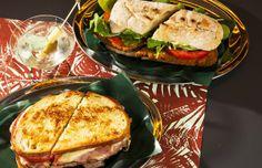 Para comer, duas boas opções: Sanduíche Lancha com filé a milanesa, tomate e rúcula e o Royal (à frente), com rosbife caseiro, queijo, tomate e pepino (Foto: Felipe Gombossy/Época SP)