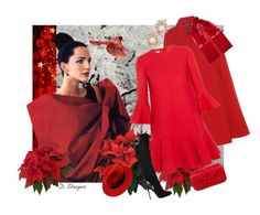 """Holiday- Red"" by deborah-strozier ❤ liked on Polyvore featuring Ralph Lauren, Gucci, Valentino, Sergio Rossi, Oscar de la Renta, Anabela Chan and WithChic"