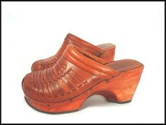 80's Wood & Leather Clogs