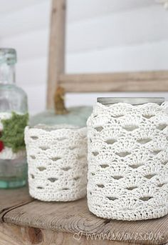 Here's a pattern for some cute jar covers - I find these look better with a mercerised cotton so the stitches really stand out.