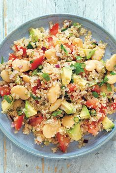 A summery supper recipe - comes together quickly and easily. Quinoa and butter bean salad with avocado   Out of the Pod by Vicky Jones, Ryland Peters & Small
