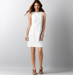 $94.99 White Eyelet Shift Dress- Loft