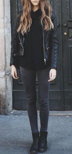 #fall #fashion / all black + leather