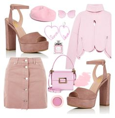 """Pink Pink Pink"" by sunny-chen-2 ❤ liked on Polyvore featuring Antonio Berardi, Topshop, Roger Vivier, Betsey Johnson, Matthew Williamson, Madewell and Lancôme"