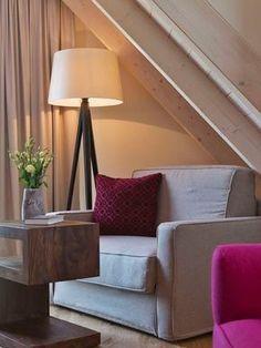 Großzügiges Doppelzimmer im Dachgeschoss // Spacious doble room on the top floor Breakfast Hotel, Tripod Lamp, Lighting, Home Decor, Double Room, Attic Rooms, Homes, Lights, Lightning