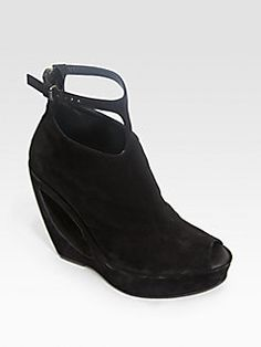 Ann Demeulemeester - Suede Cutout Wedge Ankle Boots