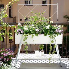 Jalallinen viljelylaatikko sopii vihannesten ja kesäkukkien kasvattamiseen parvekkeella tai terassilla. Se toimii samalla tilanjakajana ja näkösuojana.
