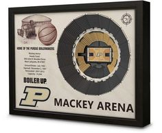 "$200 - Kohl's Purdue Boilermakers StadiumViews 3D Wall Art - A view from the top. This Purdue Boilermakers StadiumViews wall art would make a fantastic addition to your office, game room, even your locker room, coach. Original artwork in top left corner Brief listing of stadium facts and characteristics Hand crafted in Warsaw, Indiana Officially licensed 3D design Ready to hang in any room White birch wood construction Coffee bean MDF frame 25.5""W x 19.5""H x 3.5""D 12 lbs. Size: One Size…"